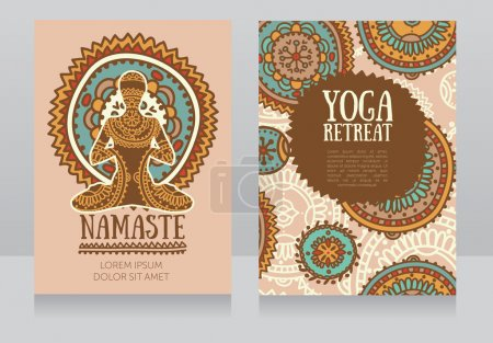 cards template for yoga retreat or yoga studio