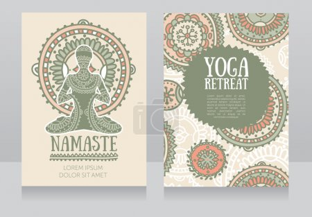 Illustration for Cards template for yoga retreat or yoga studio, lotus asana and colorful doodle mandala, vector illustration - Royalty Free Image