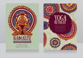 Cards template for yoga retreat or yoga studio lotus asana and colorful doodle mandala vector illustration