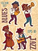 cute doodle musicians in 1920's style jazz or blues music band