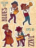 set of vector illustrations: cute doodle jazz musicians