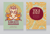 Cards template for yoga retreat with lord ganesha in meditation can be used for Hinduism religious organization vector illustration