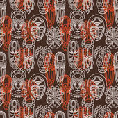 Seamless pattern with tribal african masks vector illustration