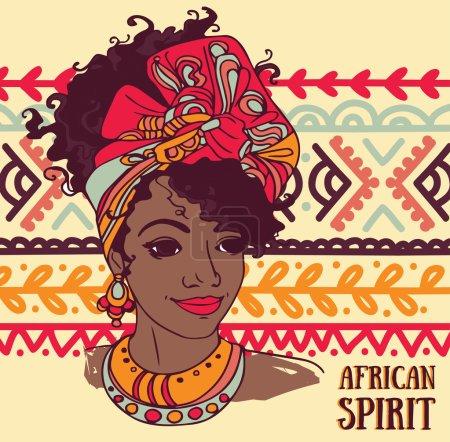 """Illustration pour Belle femme afro-américaine sur bel ornement, affiche """"esprit africain"""", illustration vectorielle - image libre de droit"""