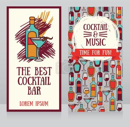 Illustration pour Bannières pour bar à cocktails, peut être utilisé comme modèle pour invitation de fête, illustration vectorielle - image libre de droit