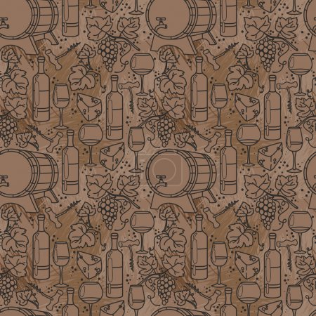 Seamless pattern for wine and winemaking