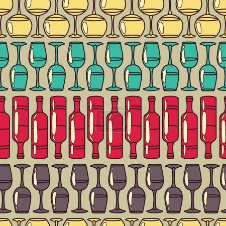 Illustration pour Modèle sans couture avec verres à vin et bouteilles, illustrations vectorielles - image libre de droit