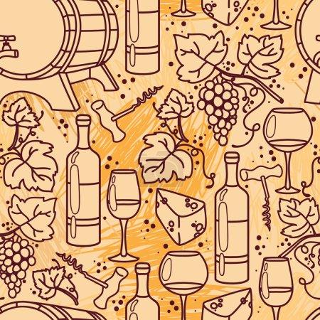 Illustration pour Modèle sans couture pour la vinification et la vinification, illustrations vectorielles - image libre de droit