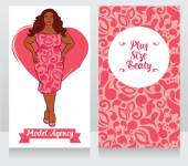 Banners for plus size beauty can be used as business cards for model agency vector illustration