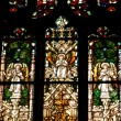 Stained glass window detail in Cluj Napoca. Saint ...