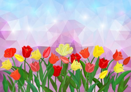 Colorful tulips border on triangle background