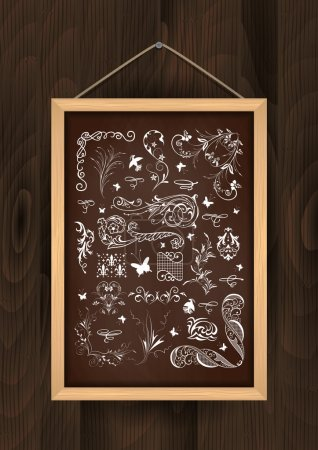 Illustration for Illustration of chalkboard with floral ornaments and design elements on wooden backgroun - Royalty Free Image