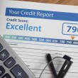 Credit report with score on a desk...