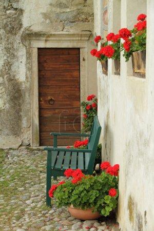 Idyllic nook on italian backyard