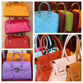 Colorful leather handbags collage