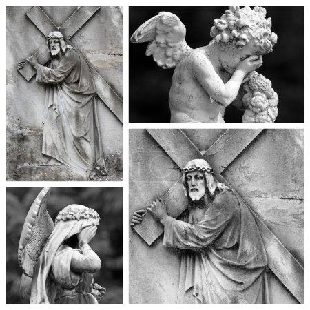 Foto de Religioso del collage - Cristo con la Cruz - Imagen libre de derechos