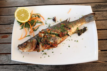 Grilled sea bass fish
