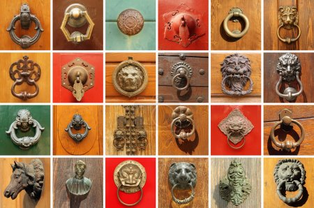 Photo for Collection of various  stylish old door knockers - Royalty Free Image