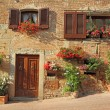 Beautiful doorway to the tuscan house decorated wi...