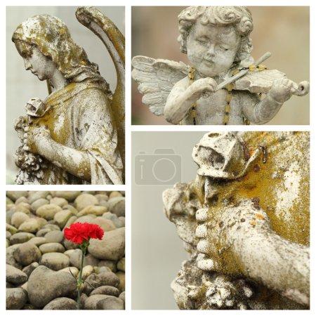 Photo pour Tous les saints jour collage avec statues vintage - image libre de droit