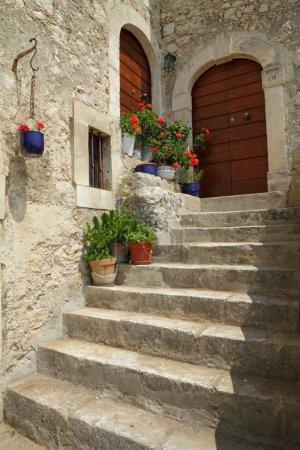 Idyllic doorsteps in italian village Santo Stefano...