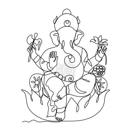 Illustration pour Une ligne dessinée unique continue art doodle spiritualité heureux ganesh culture indienne. Image isolée d'un dessin à la main contour sur un fond blanc... - image libre de droit