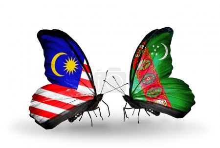 Butterflies with Malaysia and Turkmenistan flags on wings
