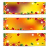 Beautiful Autumn banners with maple leaves