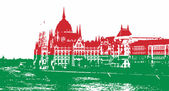 Silhouette of Hungarian parliament filled with national colors