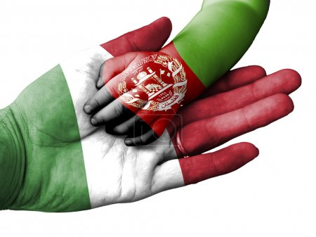 Flag of Italy overlaid the hand of an adult man ho...