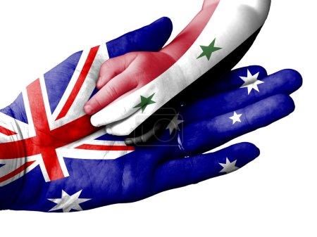 Flag of Australia overlaid the hand of an adult ma...