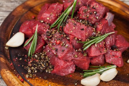 Photo for Raw beef meat on a cutting board - Royalty Free Image