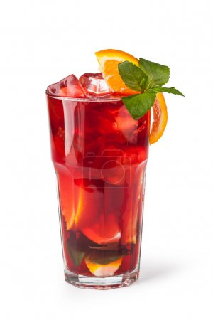 Glasses of fruit drinks with ice cubes isolated on...