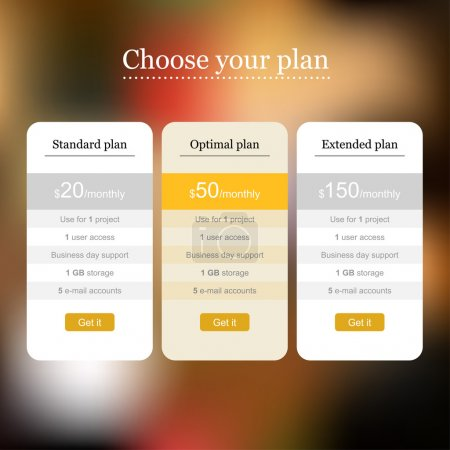 Web template of pricing table