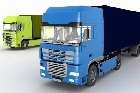 Trucks with semi-trailer isolated on white