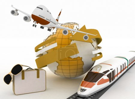 Photo for 3d suitcase, airplane, train and globe. Travel and vacation concept. Trendy signs - summer and journey - Royalty Free Image