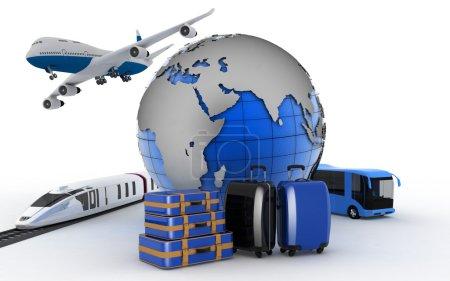 Photo pour L'avion, le train, le bus et le globe. Concept de transport international pour les voyages et le tourisme . - image libre de droit