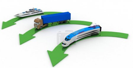 Types of transport with pointers on a white background