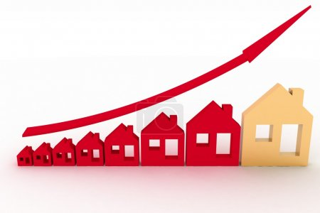 Photo for Growth in real estate shown on graph . 3d illustration on white background. - Royalty Free Image