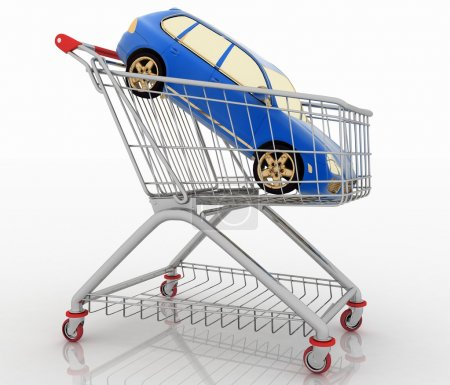 Car shopping, new car in a shopping basket