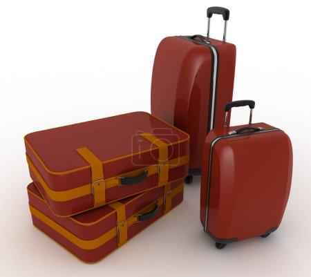 valises de voyage. illustration 3D White