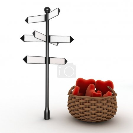 Signpost and  basket full of hearts. Travel Concept for Lovers