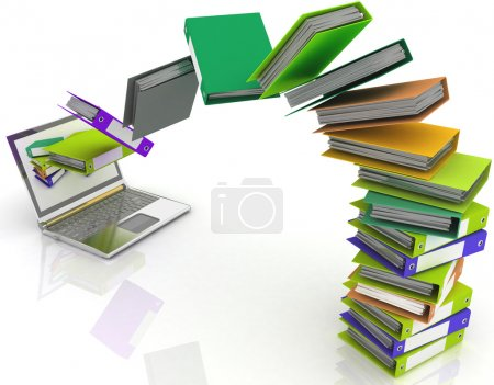 Photo for Colorful folders fly into your laptop - Royalty Free Image