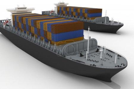 Photo pour Navires de charge isolés sur fond blanc - image libre de droit