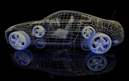 Photo pour Modèle de voiture sur fond noir avec réflexion - image libre de droit