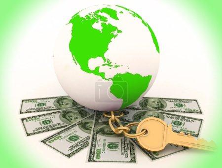 Global and cash money, the world of finance. 3d rendered illustration.