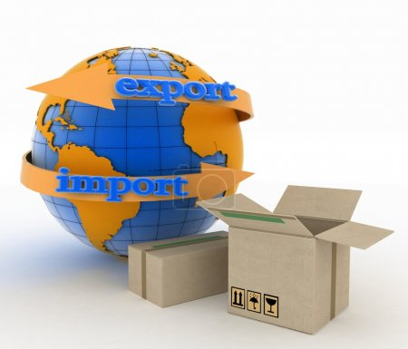 Import and export arrow around earth for business. Concept of buying goods worldwide