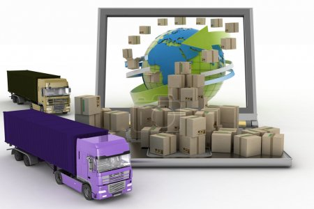 Cardboard boxes around the globe on a laptop screen and two trucks