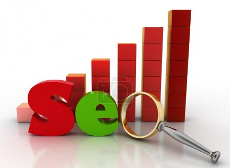 Letter SEO with Magnifying glass on a background a diagram