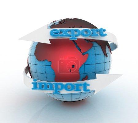 Photo pour Exportation et importation de flèche autour de la terre pour les entreprises. Notion de direction. 3D illustration sur fond blanc - image libre de droit